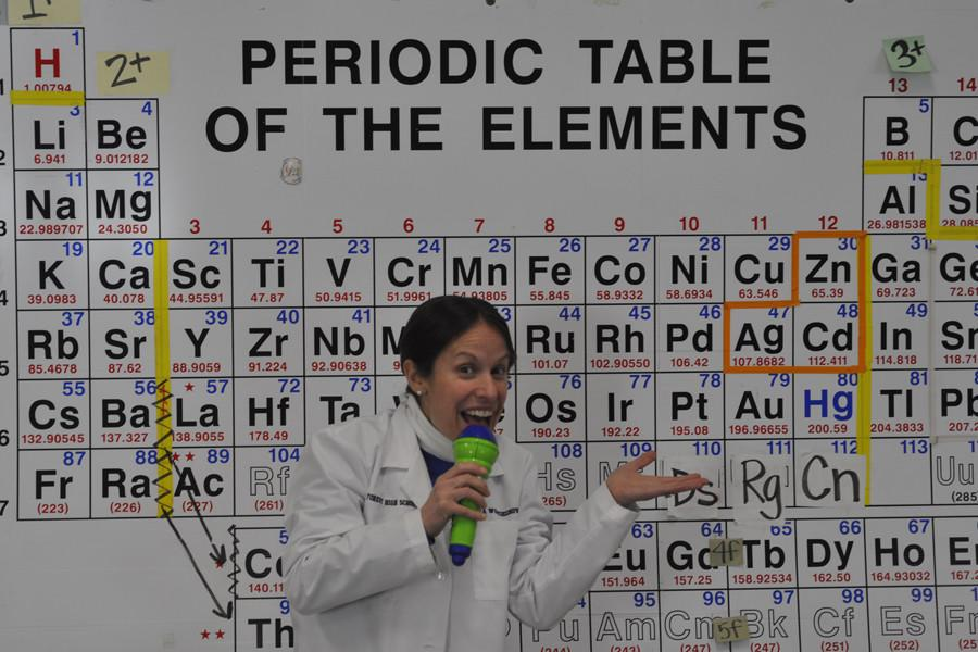 Teacher+of+the+year+Tara+Wojciechowski+poses+in+front+of+the+periodic+table.+She+creates+catchy+rhymes+as+a+study+tool+for+students.
