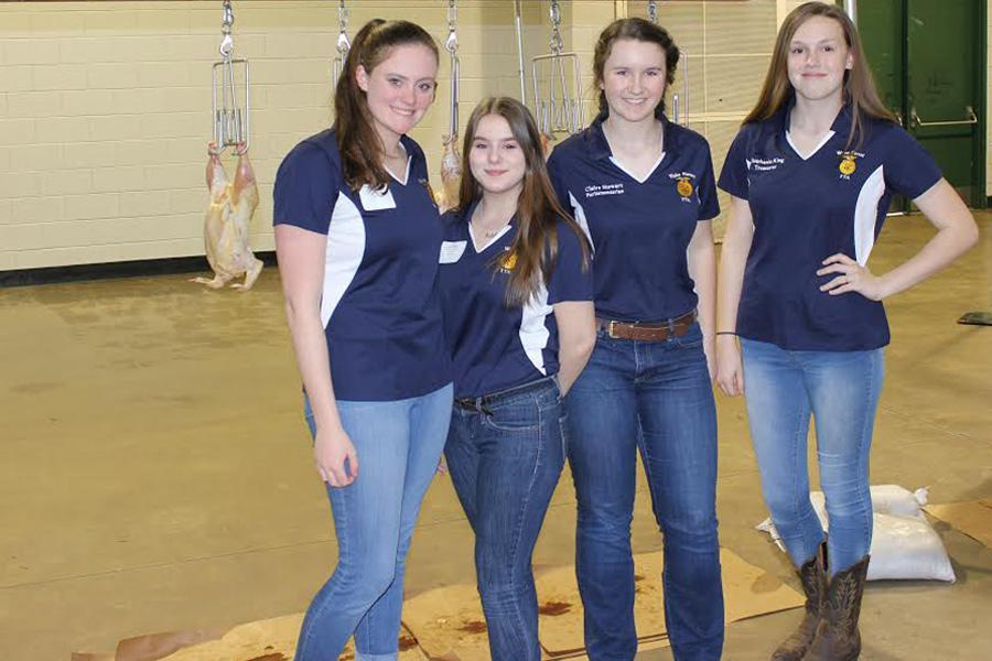 Poultry Evaluation Team Left to right: Lindsay Madden, Katelyn Shattuck, Claire Stewart and Stephanie King