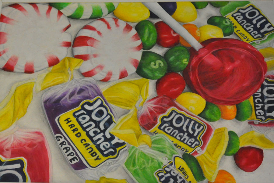 Sophomore Abigail Roach created this realistic piece with vibrant colors and colored pencils for a class assignment.