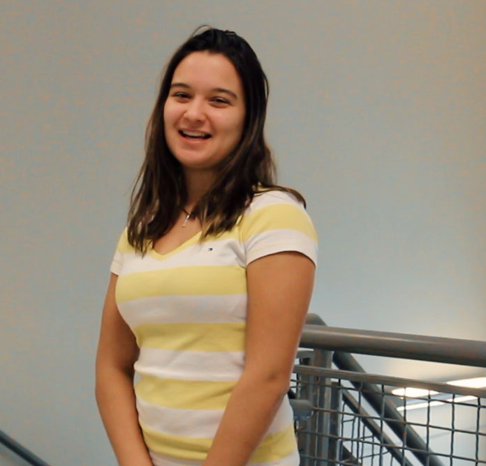 Exchange student, Cecilia Gomes de Oliveira, traveled here from Brazil.