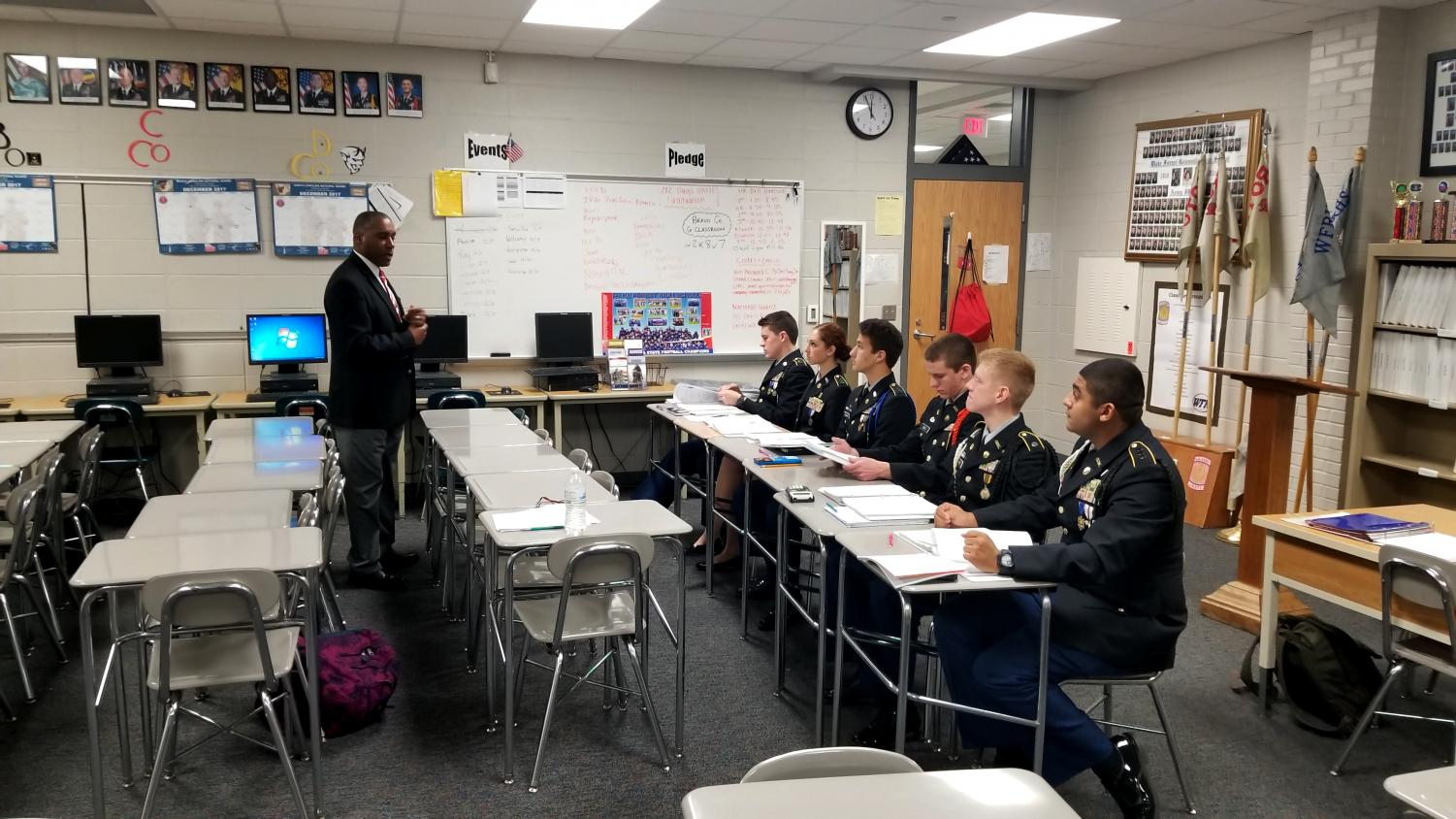 JPA Representative addresses the JROTC leadership.  These cadets led the brigade to a Gold Star rating.