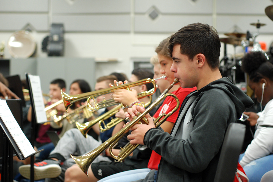 Band members practice for a future performance.