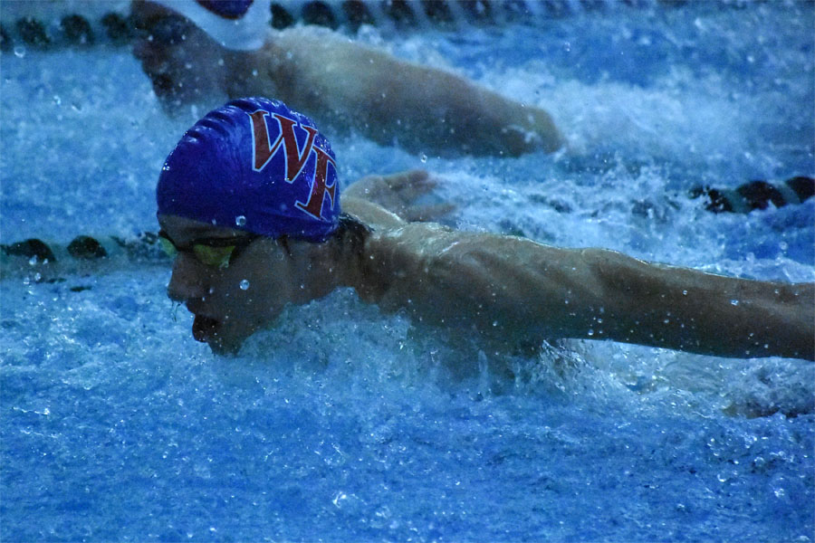 Junior Gideon Bezuidenhout won the 100 Breast and was a member of the winning 200 medley relay.