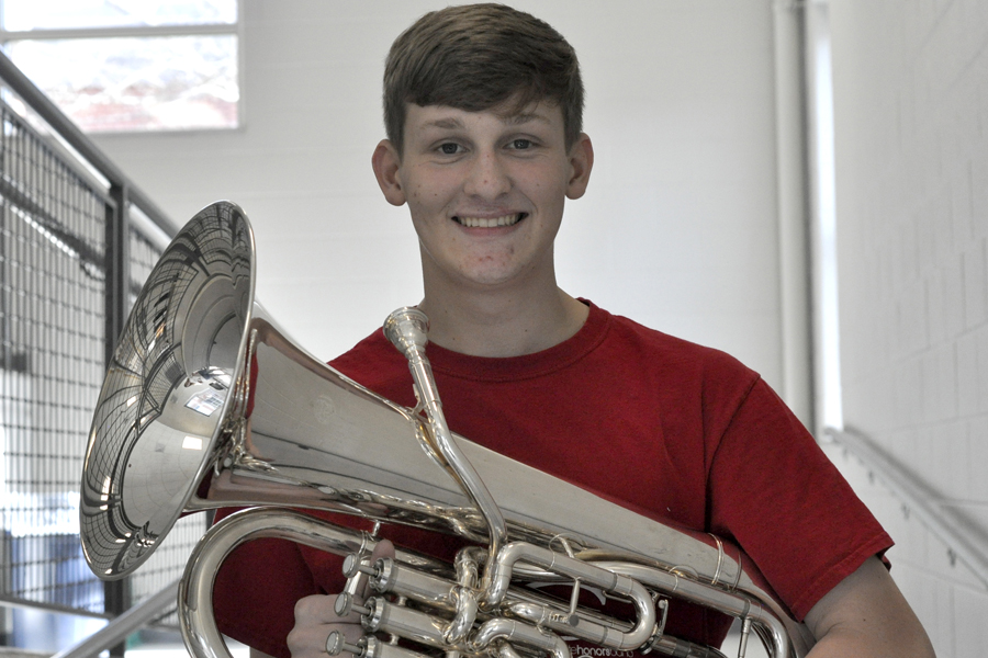 Cayden Miller with his chosen instrument, the euphonium.