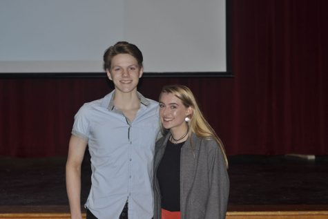 Tate Bacon (Left) and Leah Given (Right) were named most outstanding athletes at the winter sports banquet, Tate for swimming and Leah for indoor track